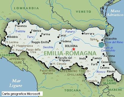 Cartina Geografica Regione Emilia Romagna.Posizione Geografica