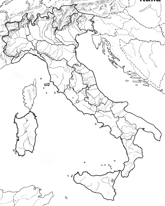 Cartina Geografica Muta Dell Italia.Cartina Fisica Dell Italia Da Colorare